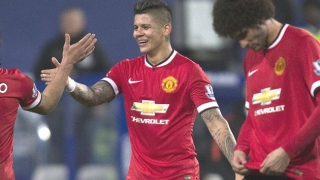 WATCH: Rojo celebrates with Man Utd fans as Jones, Carrick watch from away end at Anfield